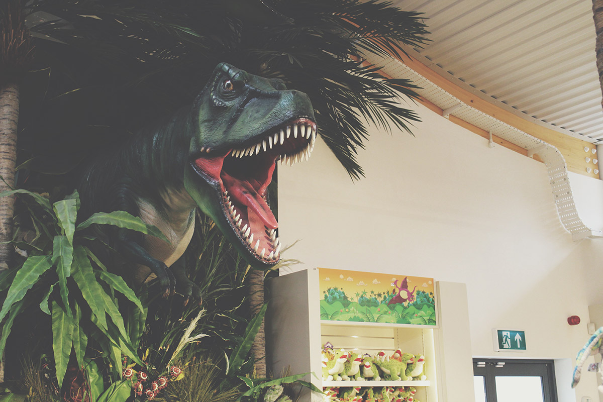 The Ultimate Toddlers Day Out at Peppa Pig World - T-rex dinosaur in the Toy Shop