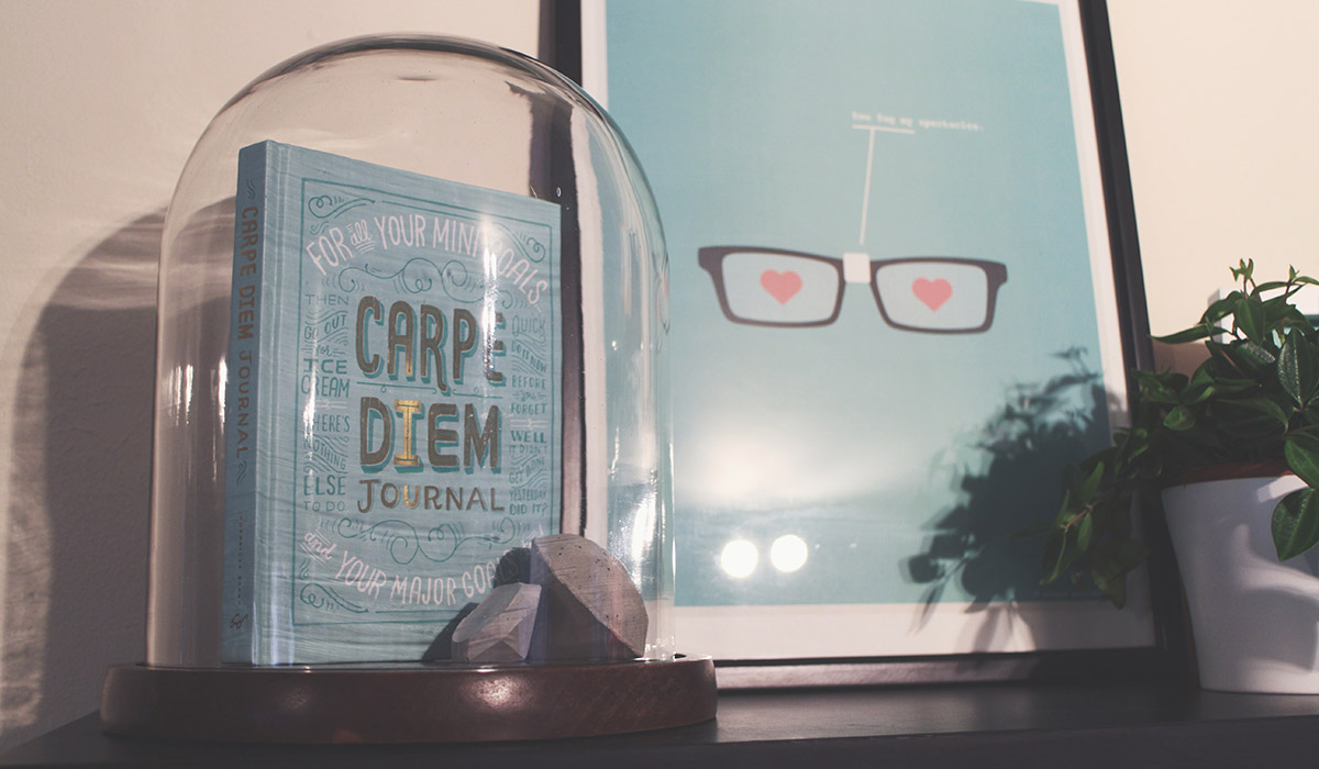 How To Make Your Shelves Beautiful With Organised Clutter - Carpe Diem notebook and cement diamonds encased in glass dome with 'you fog my spectacles' print from Etsy UK